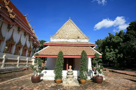 nonthaburi province: Ancient Mon style of buddhist shrine architecture against blue sky at wat Chomphuwek in Nonthaburi province, Thailand
