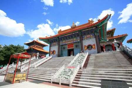 nonthaburi province: Entrance of chinese temple, wat Leng-Noei-Yi against blue sky in Nonthaburi province, Thailand