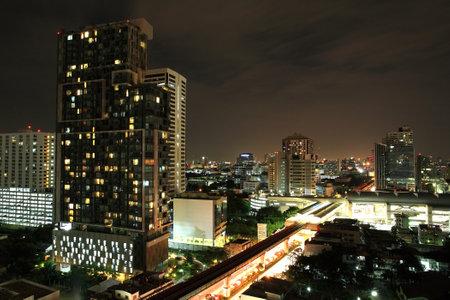 Aerial view of Bangkok downtown Cityscape  at night