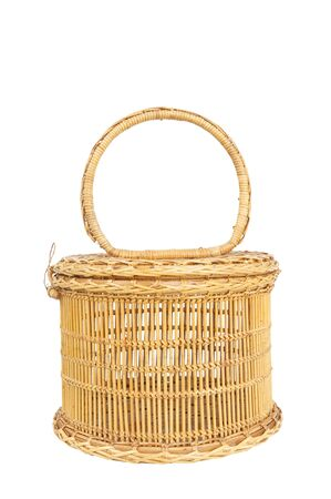 Seamless rattan wicker female handbag isolated on white background photo