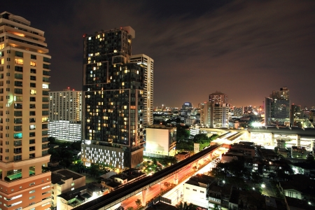 Aerial skyscraper view of Bangkok downtown cityscape at night  photo