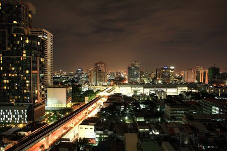 Aerial landscape of Bangkok downtown cityscape with sky train intersection photo