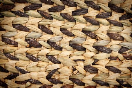 rattan mat: Closeup black and brown rattan wicker texture