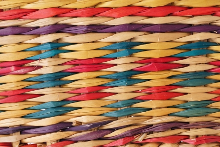 Closeup texture of colorful rattan wicker pattern