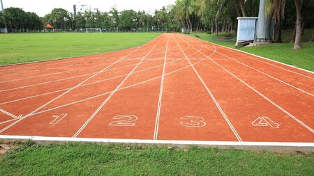 Start Lanes one to four of the red running track
