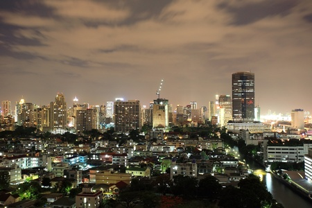 Skyscraper Bangkok downtown near the canal