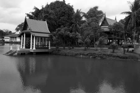 Waterfront pavilion at ancient traditional Thai house photo