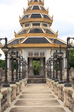 nonthaburi province: Entrance of beautiful chedi monument at Chalerm Prakiat park in Nonthaburi province, Thailand Stock Photo