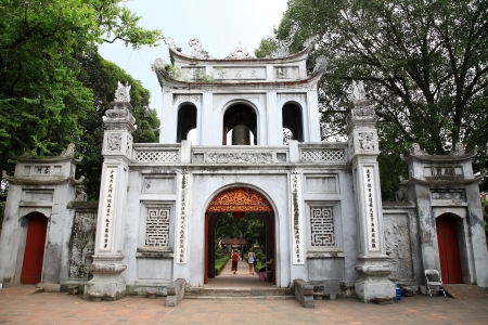 Entrance gate to the temple of Literature, the first Vietnamese university, in Hanoi, Vietnam photo