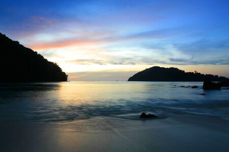Silhouette scenic of tropical coast at twilight in Koh Surin national park, Thailand Stock Photo - 14685387