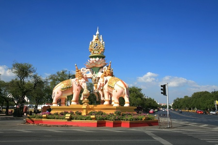 BANGKOK - DECEMBER 09  The pink elephant statue on Sanam Luang junction in Bangkok, Thailand on Dec 09, 2011  This statue is built to celebrate King Bhumibol Adulyadej 84th birthday on Dec 05, 2011