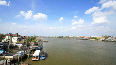View of riverside community near Chao Phraya river in Nonthaburi, Thailand  photo