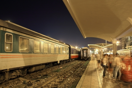 Train station platform at night in Hanoi, Vietnam