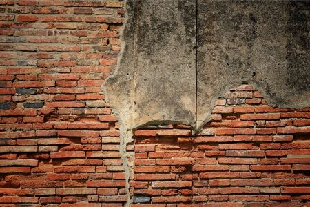 Textured  old weathered brick wall fragment Stock Photo - 14804418