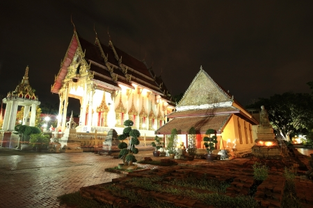 nonthaburi province: Night view of ancient Mon Buddhist temple at wat Chomphuwek in Nonthaburi province, Thailand