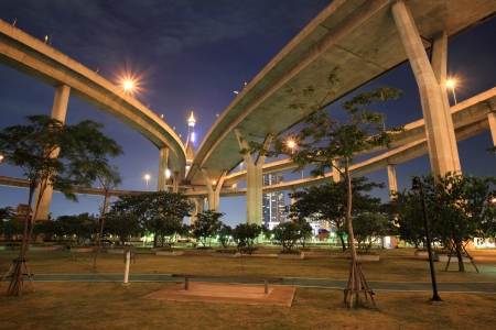 industrial park: King Bhumibol bridge,the Industrial Ring Bridge or Mega Bridge, above park at dusk in Bangkok, Thailand  Stock Photo