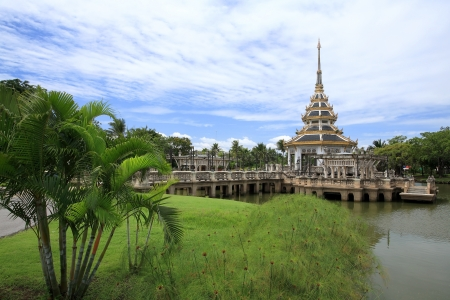 Beautiful pagoda on the pond at Chalerm Prakiat park in Nontaburi province, Thailand Stock Photo - 14913827