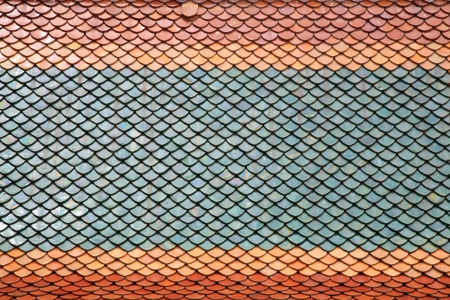 Closeup colorful tile roof of Thai temple
