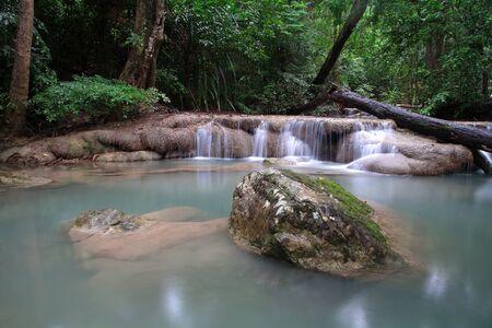 Scenic of Erawan Waterfall in Kanchanaburi province, Thailand Stock Photo - 15123111