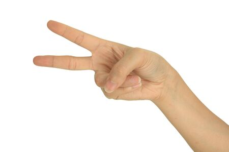 2 fingers, victory and peace hand sign  photo