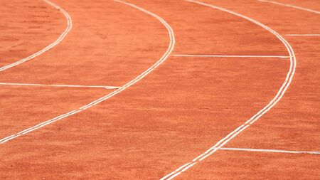 Closeup curve of a running track photo