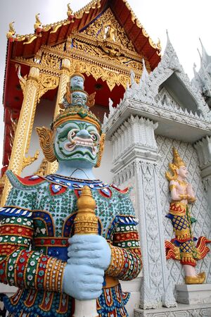 Statue of Thai giant guardian in front of the temple at wat Bangphai in Nonthaburi, Thailand Stock Photo - 15123127