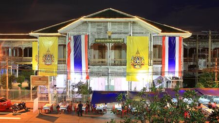 nonthaburi province: NONTHABURI-SEP 12  View of old city hall at night on September 12, 2012 in Nonthaburi province, Thailand  This old city hall, established on 1548, is tranformed to be the museum of Nonthaburi in 2009
