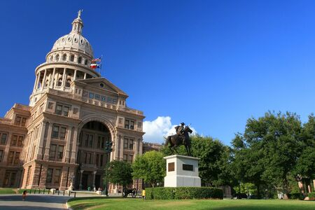 The Texas State Capitol Building  against blue sky in Austin downtown, Texas  Austin is the capital city of Texas state