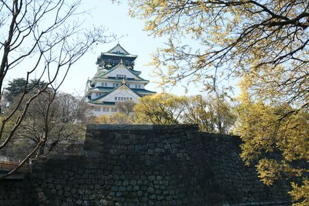 osaka castle: Osaka Castle with cherry blossom frame in Osaka, Japan