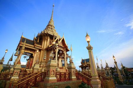 bejaratana: Royal golden funeral pyre for princess Bejaratana Rajasuda against blue sky