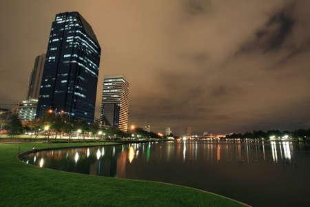 benjakitti: Benjakitti park at night at Bangkok downtown,Thailand