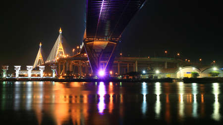 Bhumibol bridge across Chao Phraya river with colorful reflection in Bangkok, Thailand  photo