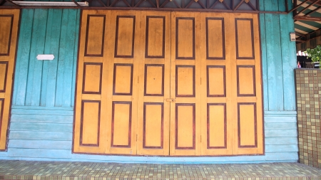 Antique colorful chinese wooden door photo