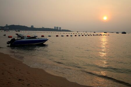 Sunset scenic in Pattaya beach, Thailand photo