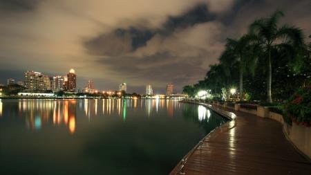 Cityscape of modern buildings at Benjakitti park at dusk in Bangkok, Thailand Stock Photo - 16297890