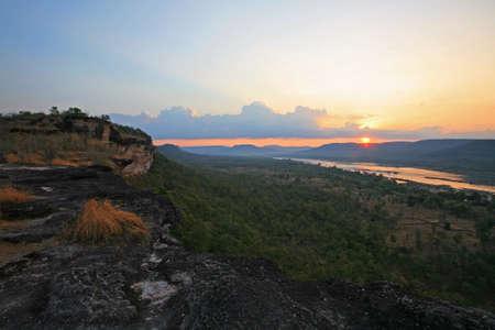 Sunrise scenic at the peak view of Pha Taem national park in Ubon Ratchathani province, Thailand Stock Photo - 16367689