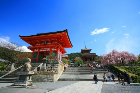 KYOTO-APR 18  Entrance of Kyomizu Temple against blue sky on April 18, 2011 in Kyoto, Japan  Here, built in 1633 and, is one of the most famous landmark of Kyoto with UNESCO World Heritage  報道画像