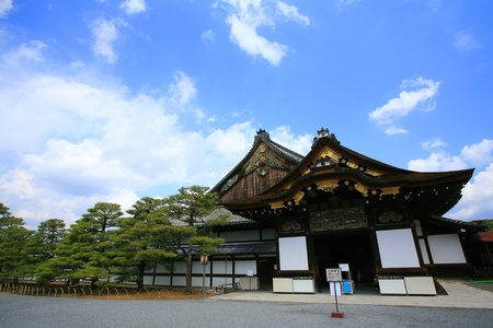 nijo: Nijo castle against blue sky in Kyoto, Japan