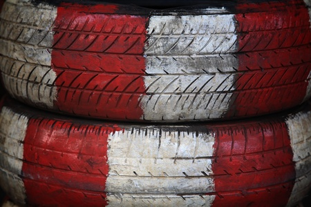 Old tire painted by red and white color Stock Photo
