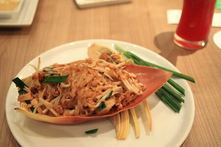Pad Thai with shrimp decorated on banana blossom photo