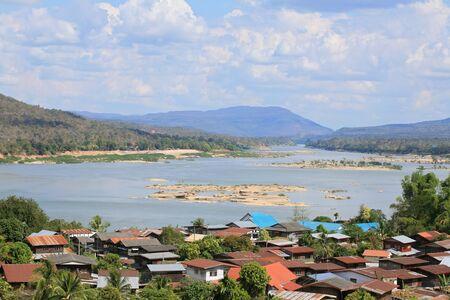 khongjiam: Aerial view of Khongjiam District near Mae Khong river in Ubon Ratchathani, the northeastern of Thailand Stock Photo