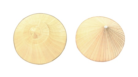 Top view on two different styles of farmer palm hats isolated on white background Stock Photo - 16939635