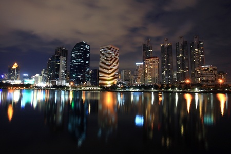 Bangkok cityscape at night with  skyline reflection,Thailand  Stock Photo - 17091079