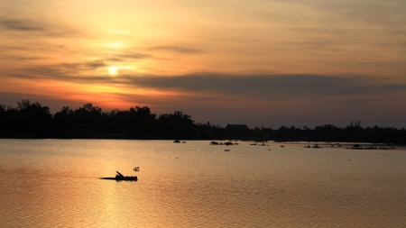 Sunset scenic at the Bang Pakong river in Chachoengsao, Thailand
