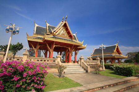 nonthaburi province: Beautiful shrines against blue sky at Chalerm Prakiat park in Nonthaburi province, Thailand