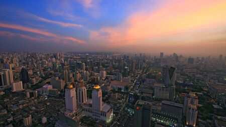 Skyline view of Bangkok cityscape at dusk, Thailand