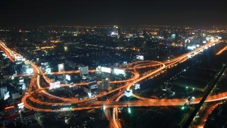 Aerial urban view of Bangkok expressway and city at night, Thailand Stock Photo - 17192913