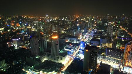 technoligy: Aerial cityscape view of Modern tower buildings in Bangkok, Thailand Stock Photo