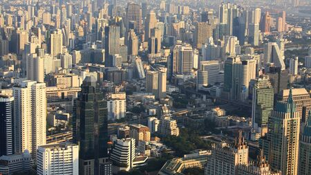 Aerial cityscape view of high modern buildings in Bangkok photo