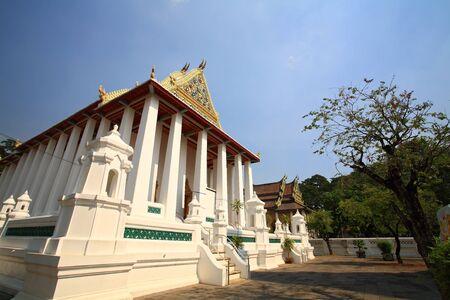 nonthaburi province: Shrine architecture against blue sky at Chalerm Prakiat temple in Nonthaburi province, Thailand